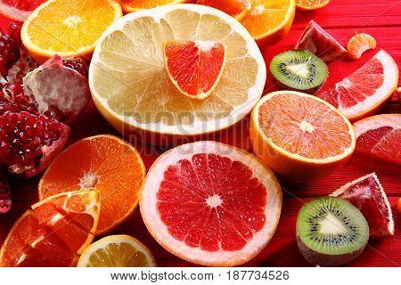 Fresh juicy citrus fruits, closeup