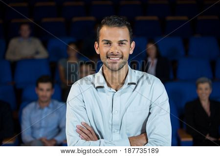 Portrait of male business executive at conference center