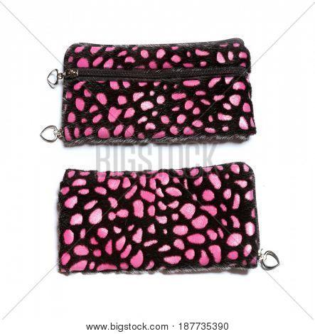 Pink fur wallet