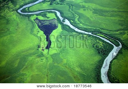 Aerial view of a green landscape with a river