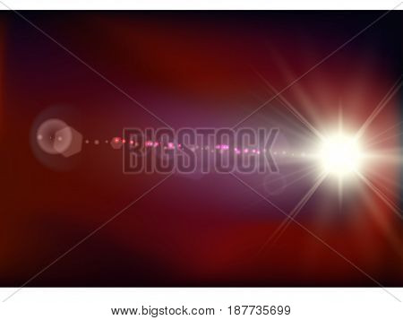 Abstract space flash flare red background. Vector illustration