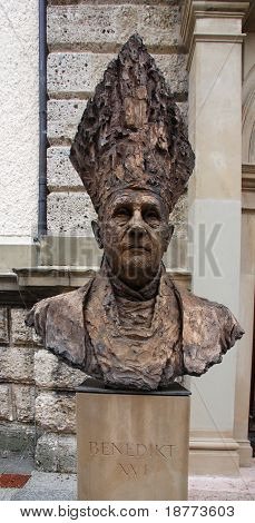 Statue of Pope Benedict XVI in his former living town of Traunstein in Germany