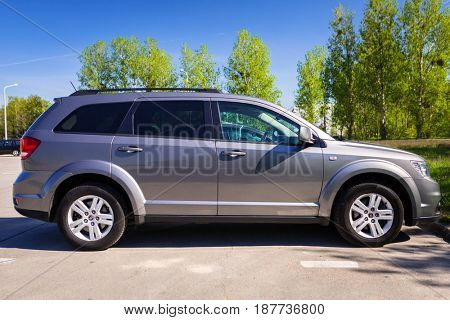 POLAND - MAY 18, 2017:  Fiat Freemont SUV at the parking side in Poland. Fiat Freemont is an european version of Dodge Jurney manufactured sience 2011.