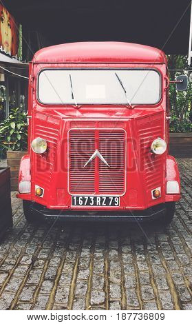 London, UK - 29 Sept 2016: Restored H-type Citroen delivery van parked on the South Bank of the Thames in London, UK. Mid 20th Century vintage vehicle with matte, retro filter applied.