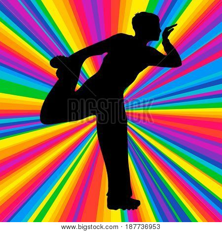 Silhouette dancing human, music battle party, disco ray background.