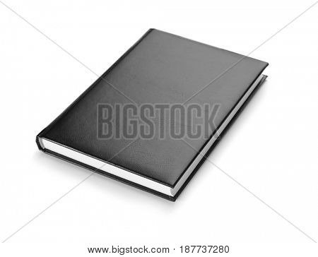 Book with blank black cover on white background