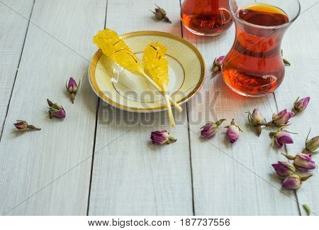 Safron flavoured sugar candy and Persian tea. A typical ingredients for Iranian tea ritual.