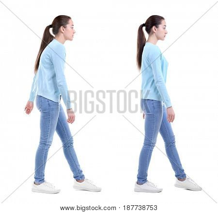 Rehabilitation concept. Collage of woman with poor and good posture on white background
