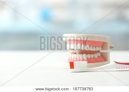 Artificial jaw model and toothbrush on table
