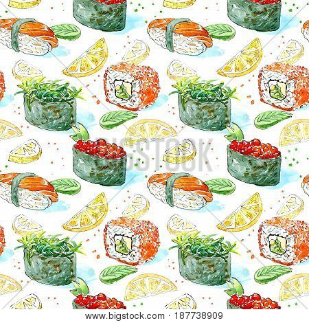 Seamless pattern of a gunkan, sushi and roll. Japanese cuisine.Salmon,red caviar,lemon,wasabi and chuka.Watercolor hand drawn illustration.White background.