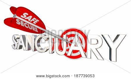 Sanctuary Safe Secure Place Bow Arrow Target 3d Illustration