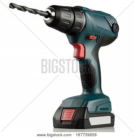 modern screwdriver a power drill on white background