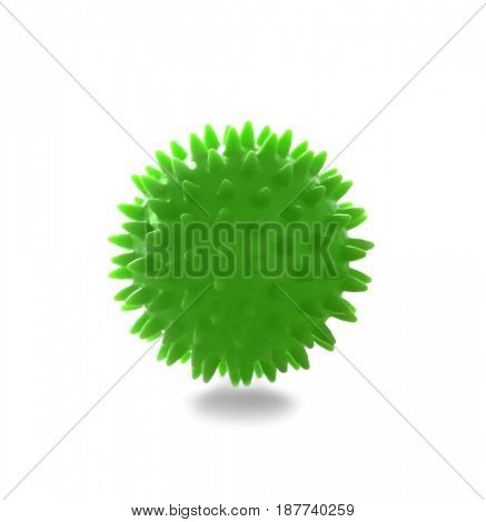Rubber ball isolated on white. Concept of physiotherapy