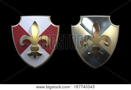 heraldic shields, 3d render