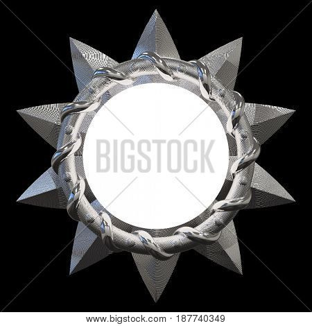 round heraldic shield, 3d render