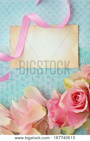 empty greeting card, decorative cover with flowers