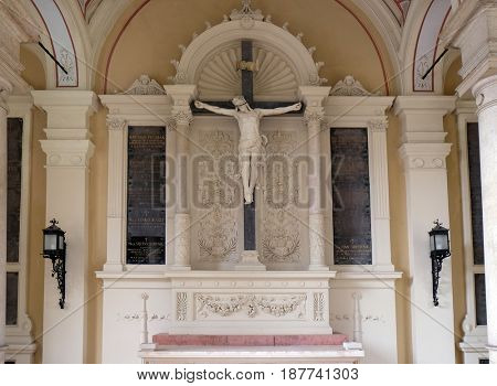 ZAGREB, CROATIA - OCTOBER 10: Catholic graves tombstones with cross, Mirogoj cemetery in Zagreb, Croatia on October 10, 2015.