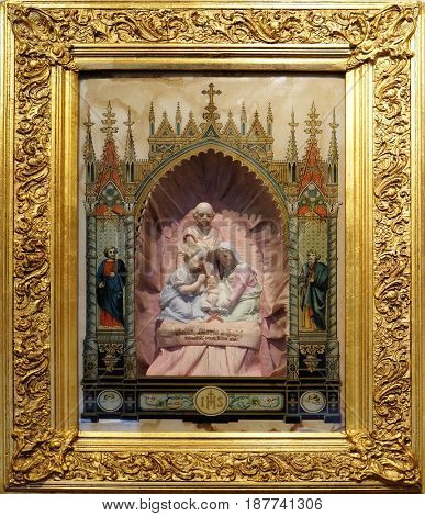 ZAGREB, CROATIA - FEBRUARY 15: Home altar Birth of Jesus, Zagreb, Croatia on February 15, 2015.