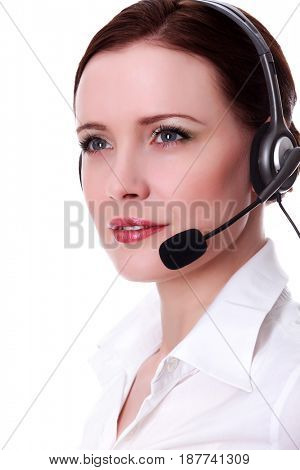 Closeup shot of happy smiling friendly support phone operator in headset, isolated on white background