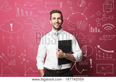 Marketing concept. Man presenting business plan on color background