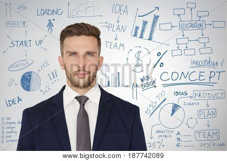 Marketing concept. Man presenting business plan on light background