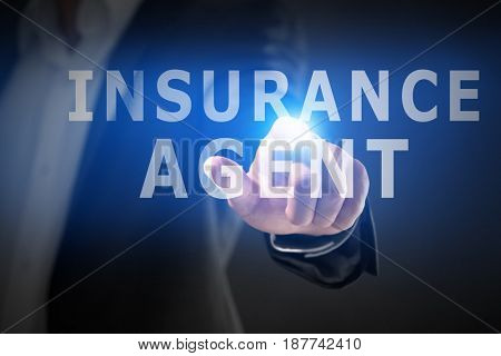 Insurance agent concept. Businessman working with virtual screen, closeup