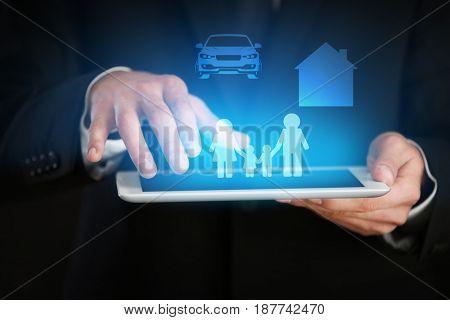 Insurance concept. Businessman using tablet, closeup