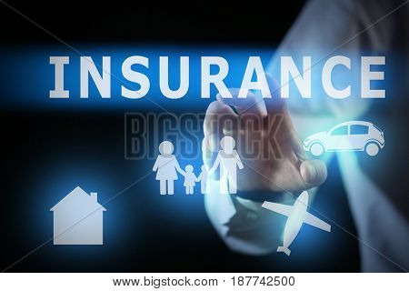 Insurance concept. Businessman working with virtual screen, closeup