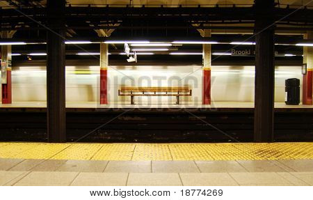 Brooklyn Bridge Subway Station in Manhattan, New York