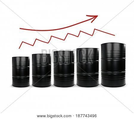 Oil prices concept. Barrels of black gold on white background
