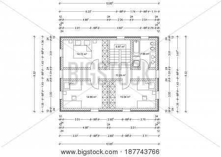 Floor plan of house as architectural drawing from architect