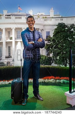 AMSTERDAM, NETHERLANDS - APRIL 25, 2017: Barack Obama wax statue in Madame Tussauds museum on April 25, 2017 in Amsterdam Netherlands.