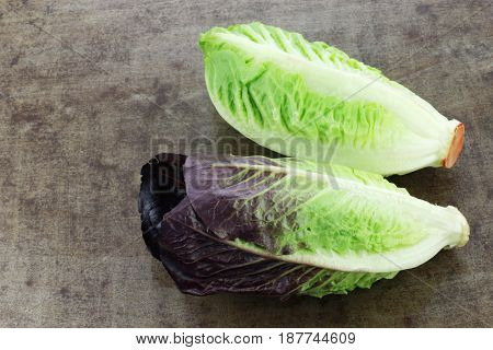 fresh romaine lettuce on a grungy background