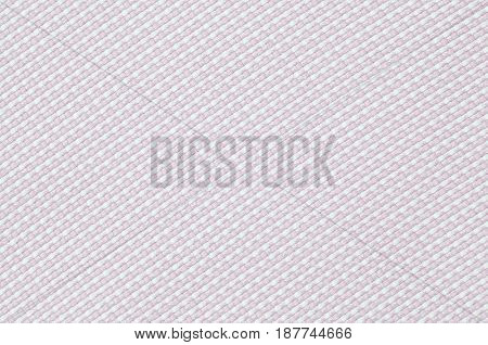 Close up pink checked woven woolen rug fabric pattern texture background.