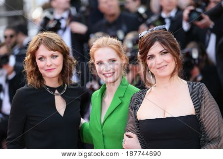 Agnes Jaoui, Jessica Chastain, Maren Ade attends the 'The Meyerowitz Stories' screening during the 70th annual Cannes Film Festival at Palais des Festivals on May 21, 2017 in Cannes, France.