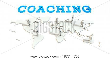 Coaching Global Business Abstract with People Standing on Map 3D Illustration Render