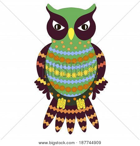 Hand drawn ornamental colorful owl for coloring page and print, stock vector illustration