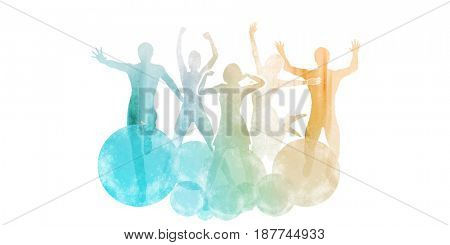 Group of Friends Jumping for Joy in Watercolor Paint 3D Illustration Render