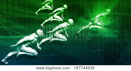 Business Success Concept with Running Men Art 3D Illustration Render