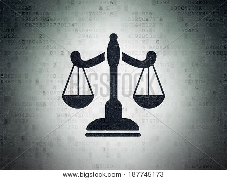 Law concept: Painted black Scales icon on Digital Data Paper background