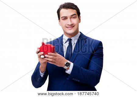 Handsome man with piggybank isolated on white