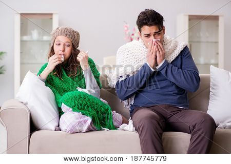 Sick wife and husband at home