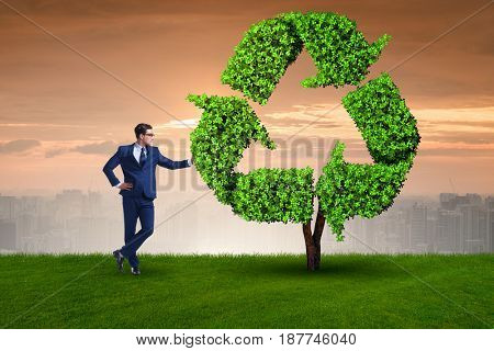 Businessman in recyling sustainable business concept