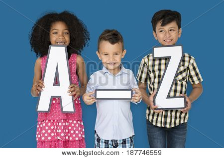 Little Children Holding A-Z Papercraft