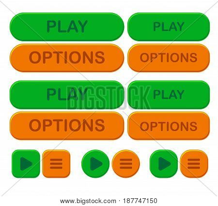 Set game bright button. Options and play in green and orange color. interface for app