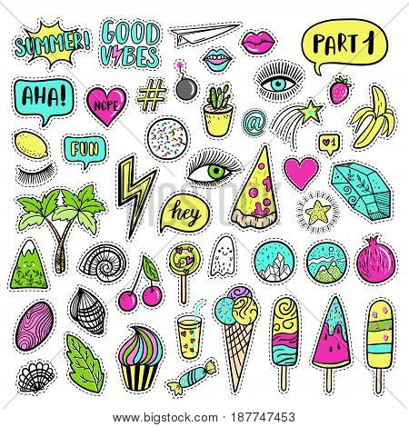 Vector Hand Drawn Summer Fashion Patches: Eyes, Ice Cream, Crystal, Palm, Pizza, Banana, Ghost, Lip,