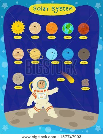 Cute cartoon set of the solar system planets and an astronaut. Eps10