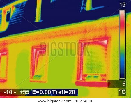 Thermographic picture of a house