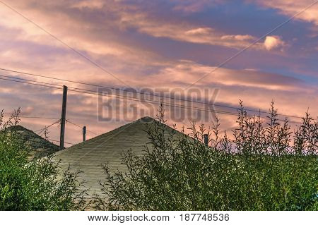 Roof At Sunset. El Chalten Town - Patagonia