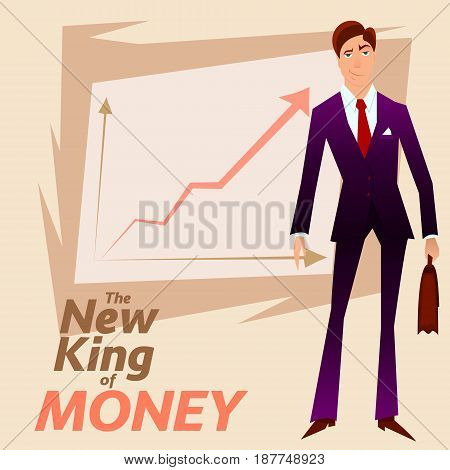 New King of Money.Successful White Collar Character on Income Growth graph background.Rich Merchant Person in Blue Formal Suit.Successful Clerk Character Stocks Broker on Income Growth Chart Plan.